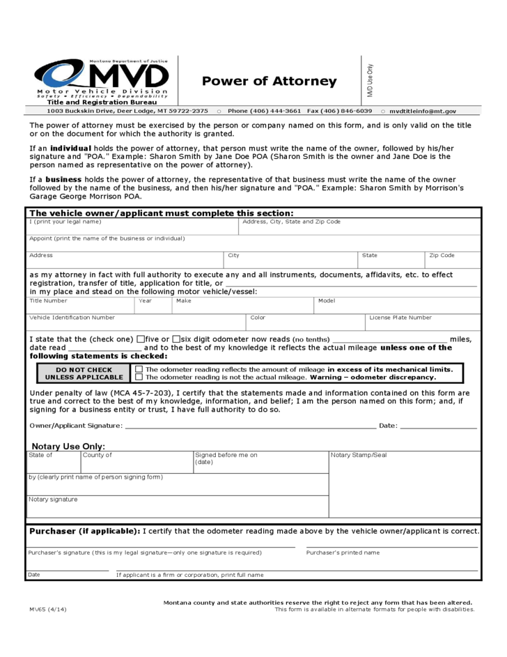MV 65 - Power of Attorney - Montana Motor Vehicle Division