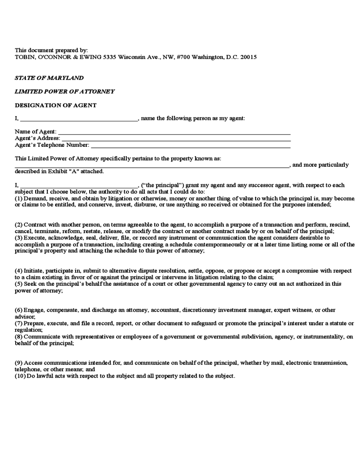 Rare image pertaining to maryland power of attorney form free printable