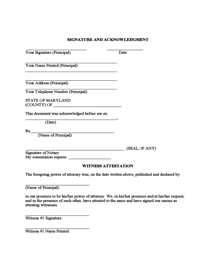 Maryland Statutory Limited Power of Attorney Form