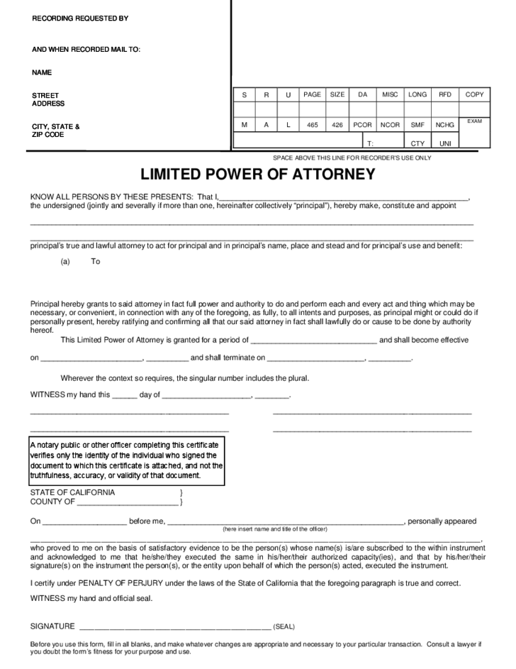 Limited Power Of Attorney Form California Free Download