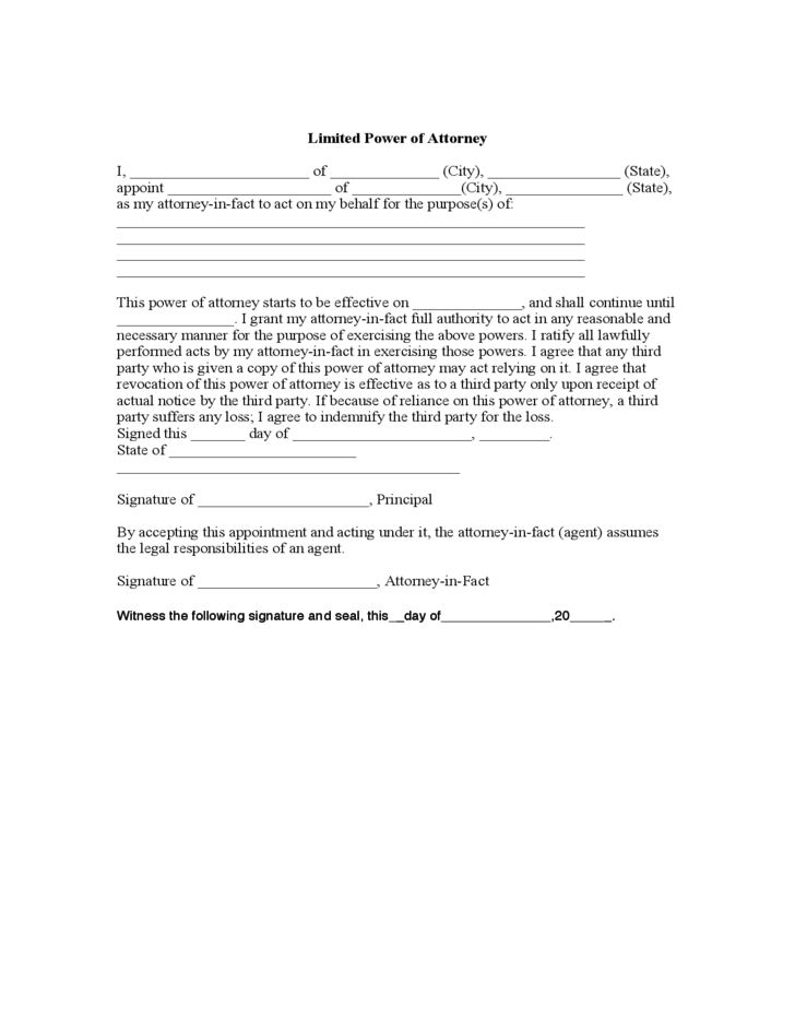 Limited Power of Attorney Format
