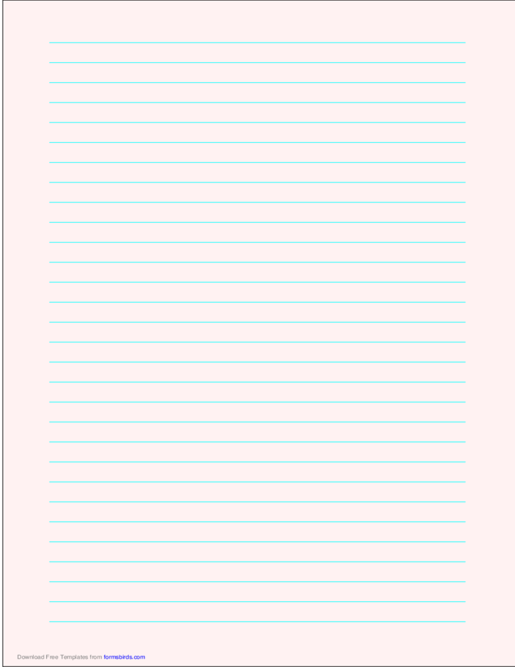 Lined Paper - Pale Red - Wide Cyan Lines - A4