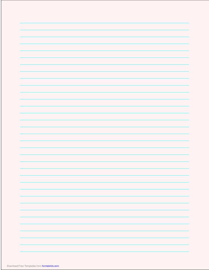 Lined Paper - Pale Red - Medium Cyan Lines - A4