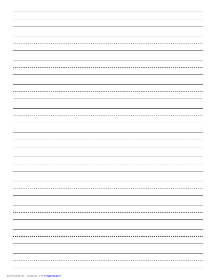 Penmanship Paper with Eleven Lines per Page on A4-Sized Paper
