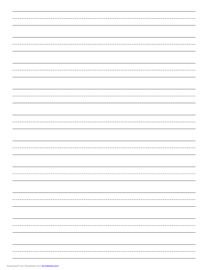 Penmanship Paper with Ten Lines per Page on A4-Sized Paper in Portrait Orientation