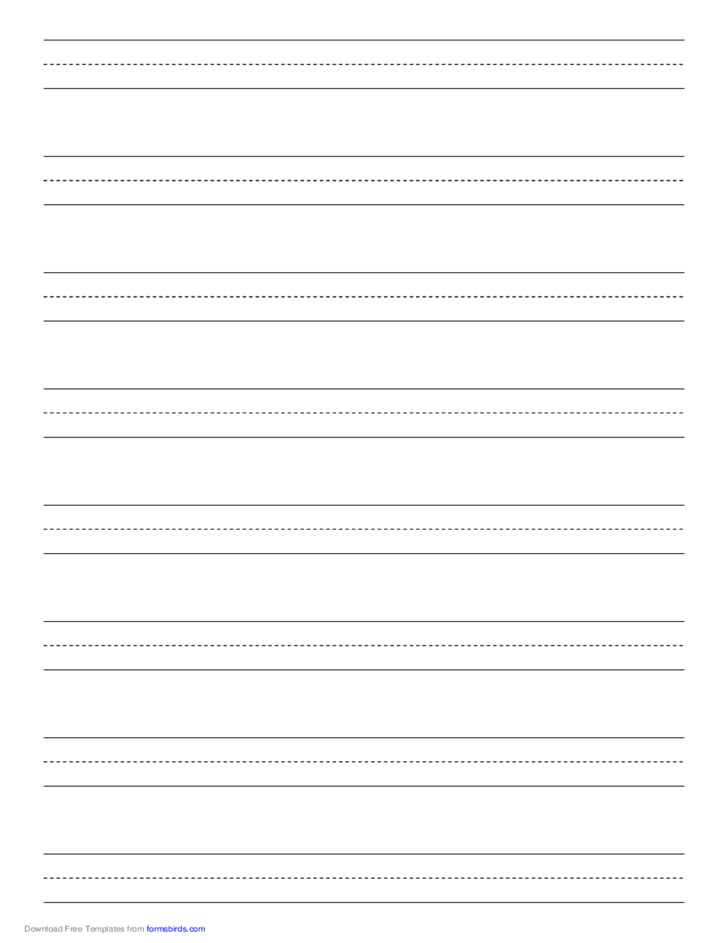 Penmanship Paper with Eight Lines per Page on A4-Sized Paper