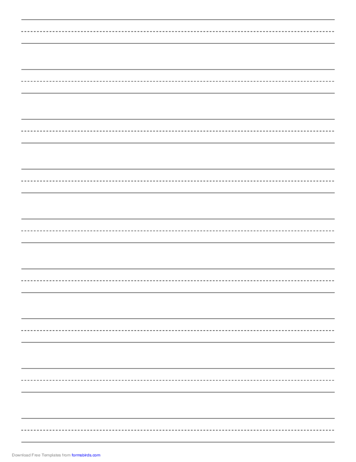 Penmanship Paper with Nine Lines per Page on A4-Sized Paper in Portrait Orientation