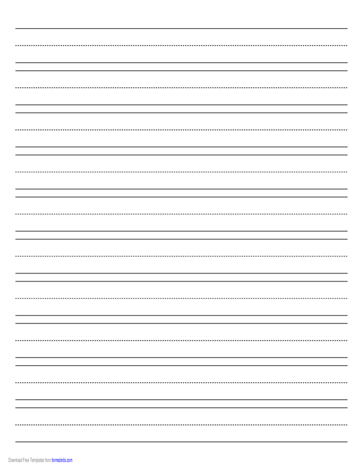 Penmanship Paper with Ten Lines per Page on A4-Sized Paper