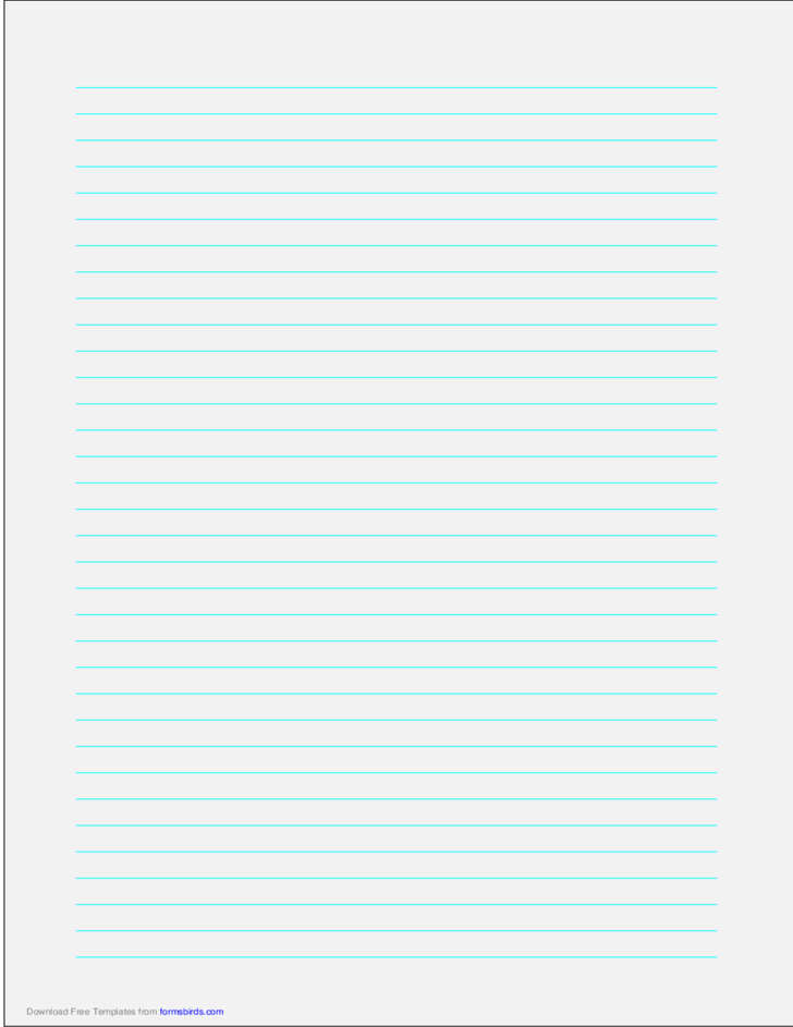 A4 Size Lined Paper with Medium Cyan Lines - Pale Gray
