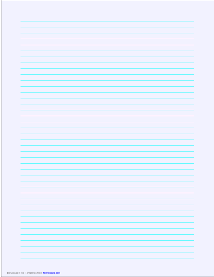 A4 Size Lined Paper with Narrow Cyan Lines - Pale Blue