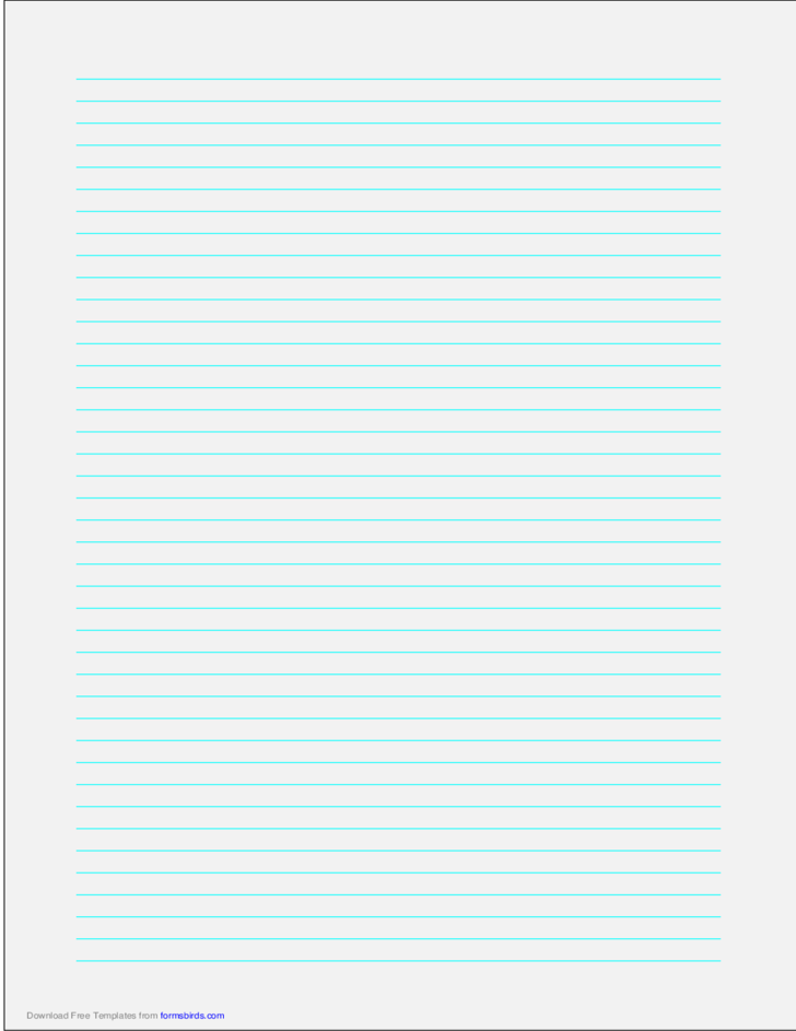 A4 Size Lined Paper with Narrow Cyan Lines - Pale Green