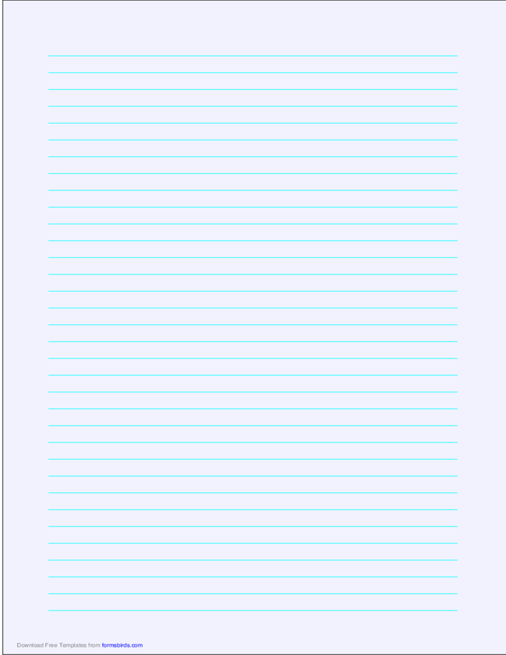 A4 Size Lined Paper with Medium Cyan Lines - Pale Blue