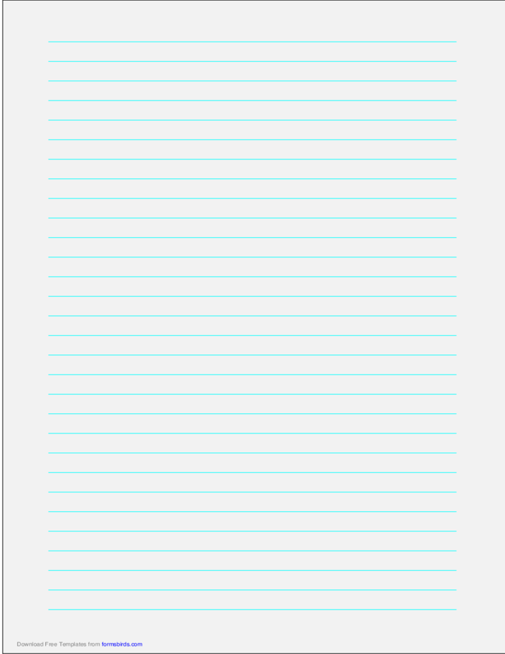 A4 Size Lined Paper with Wide Cyan Lines - Pale Gray