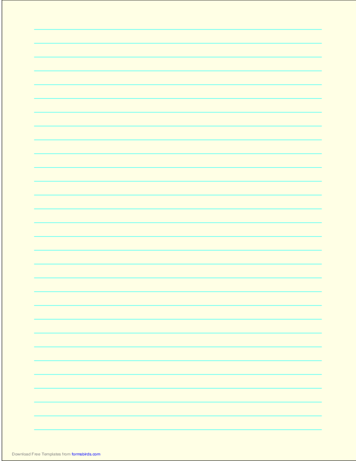A4 Size Lined Paper with Wide Cyan Lines - Light Yellow