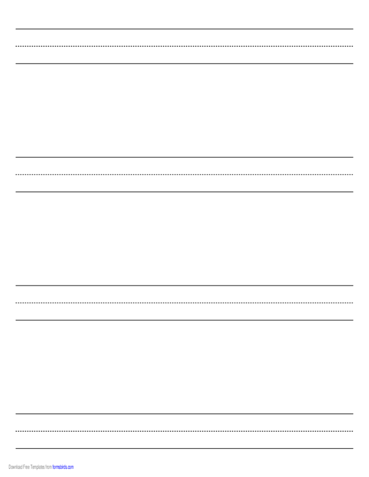 Penmanship Paper with Four Lines per Page