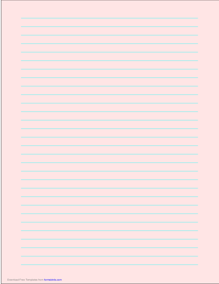 A4 Size Lined Paper with Wide Cyan Lines - Light Red