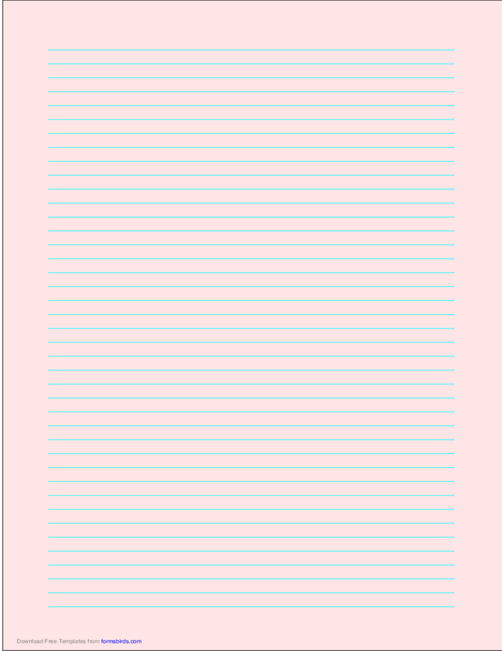 A4 Size Lined Paper with Narrow Cyan Lines - Light Red