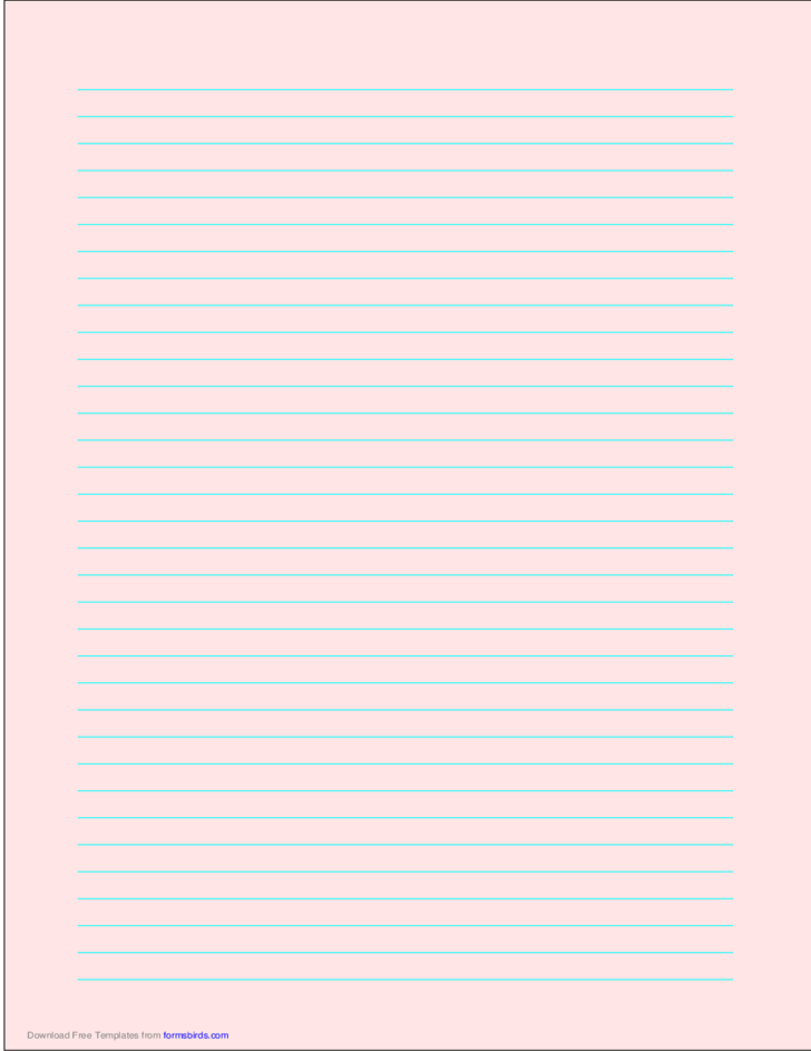 A4 Size Lined Paper with Medium Cyan Lines - Light Red