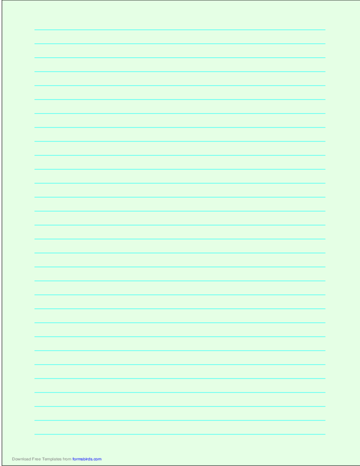 A4 Size Lined Paper with Wide Cyan Lines - Light Green