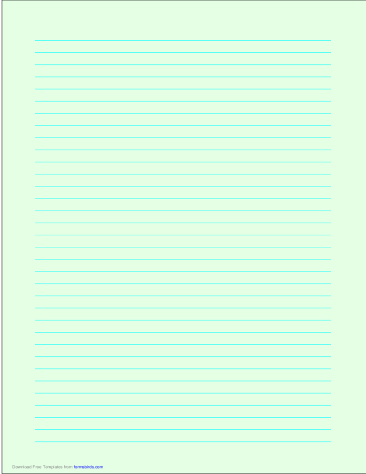 A4 Size Lined Paper with Medium Cyan Lines - Light Green