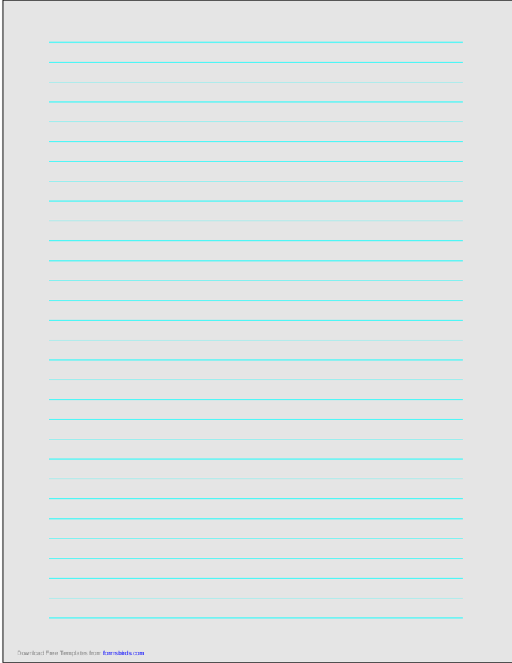 A4 Size Lined Paper with Wide Cyan Lines - Light Gray