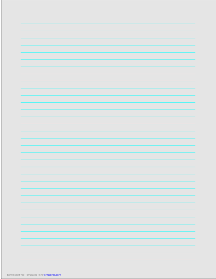 A4 Size Lined Paper with Medium Cyan Lines - Light Gray