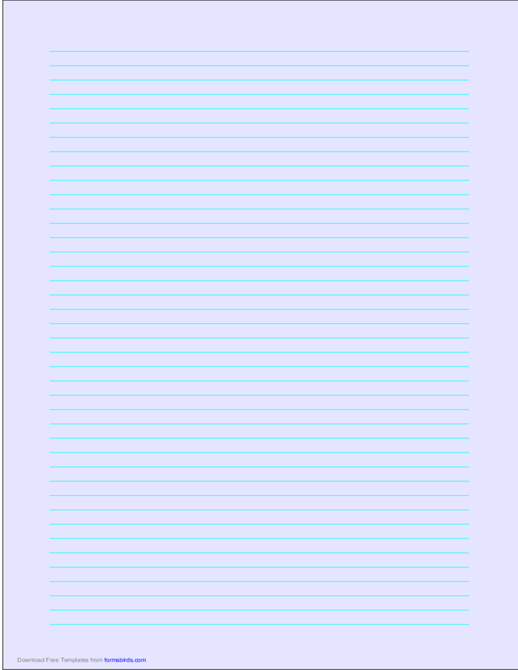 A4 Size Lined Paper with Narrow Cyan Lines - Light Blue