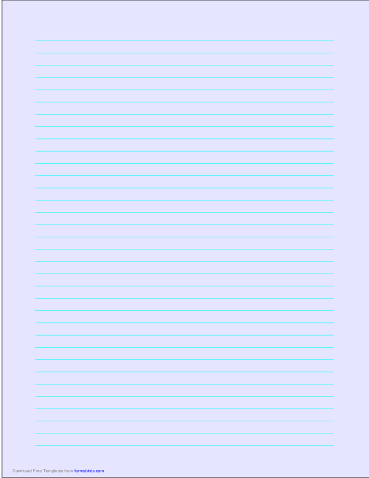A4 Size Lined Paper with Medium Cyan Lines - Light Blue
