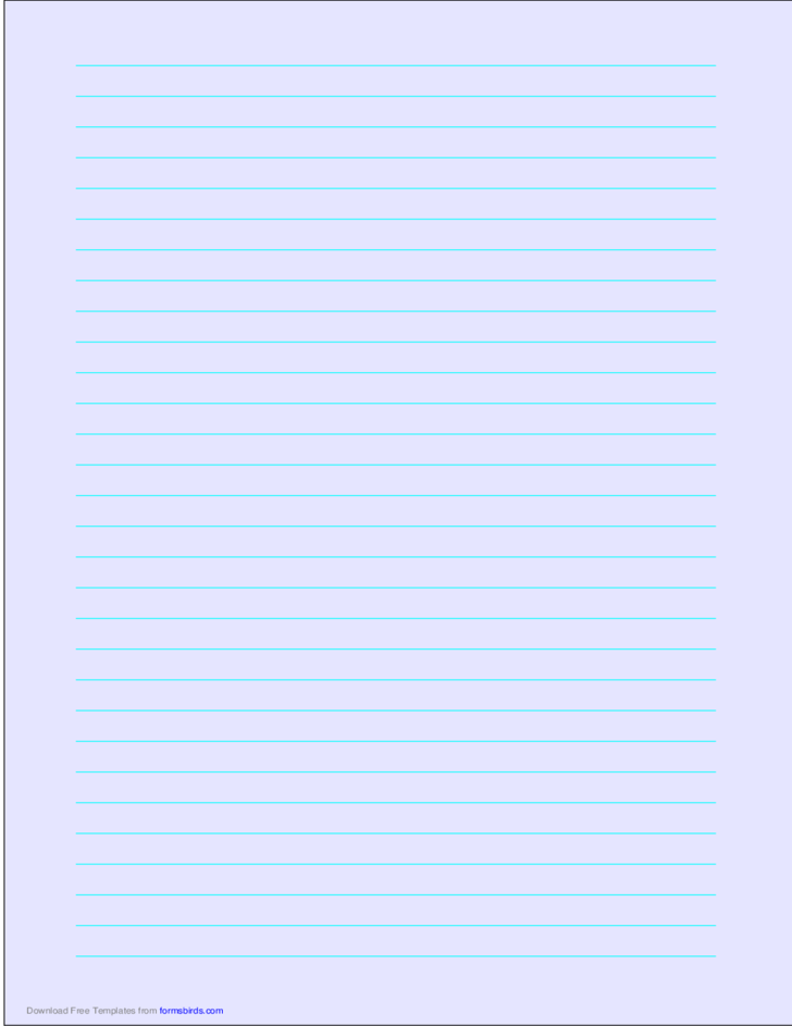 A4 Size Lined Paper with Wide Cyan Lines - Light Blue