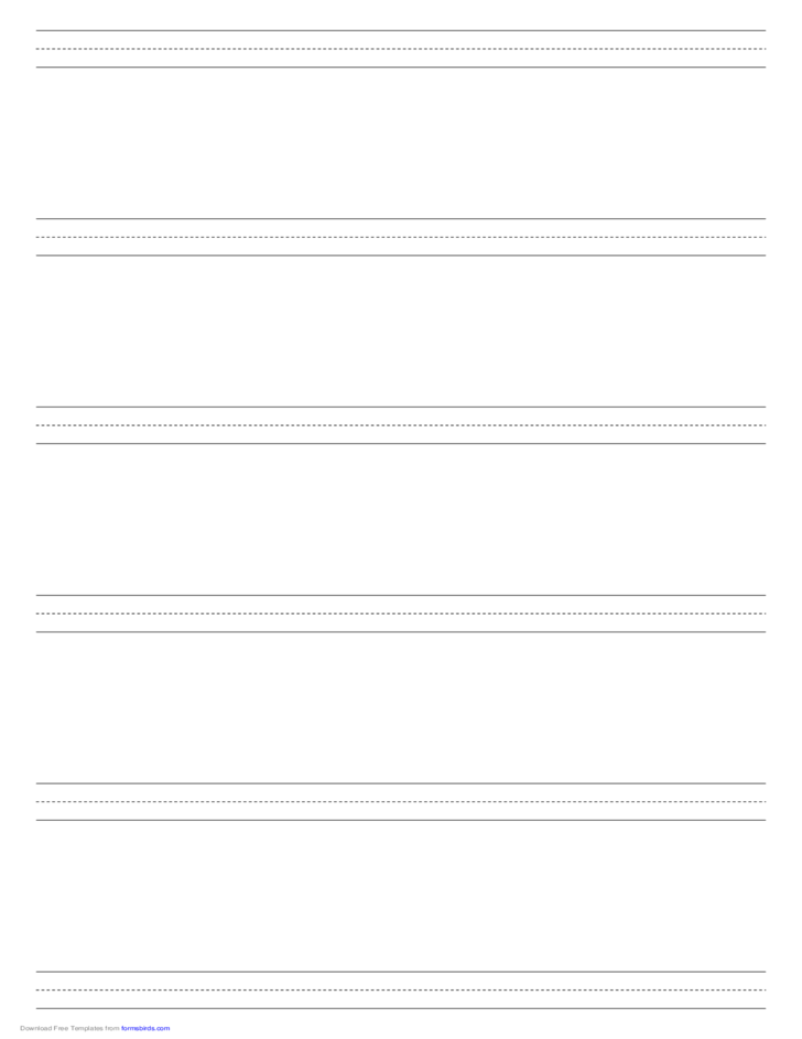 Penmanship Paper with Six Lines per Page in Portrait Orientation