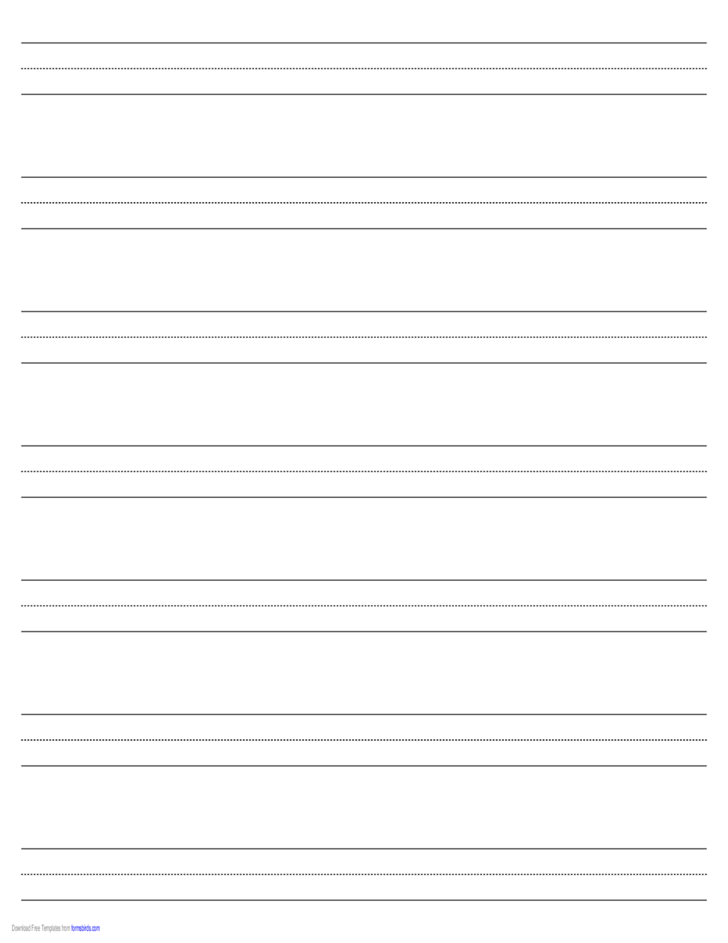Penmanship Paper with Seven Lines per Page on Ledger-Sized Paper