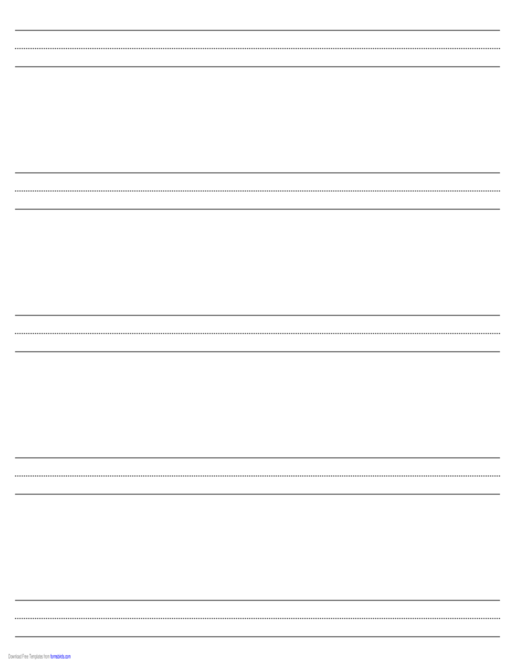 Penmanship Paper with Five Lines in Landscape Orientation