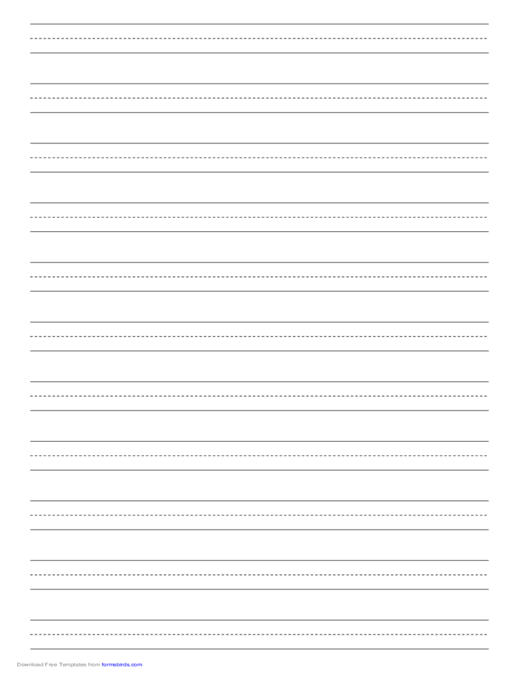Penmanship Paper with Eleven Lines per Page