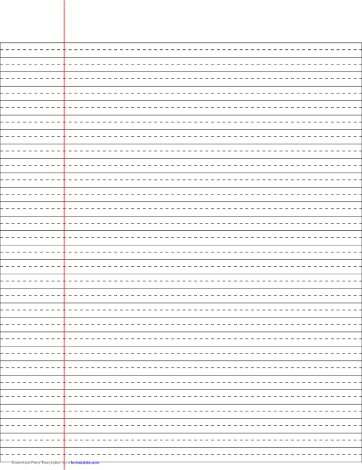 Wide Ruled Lined Paper With Dashed Center Guide Line