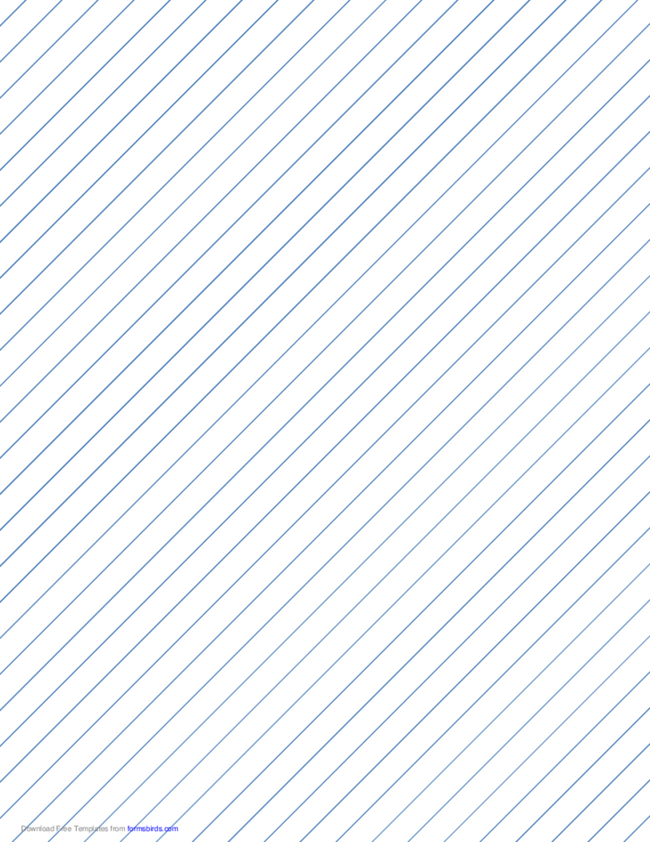Slant Ruled Paper with Wide Ruled Right-Handed, High Angle - Blue Lines