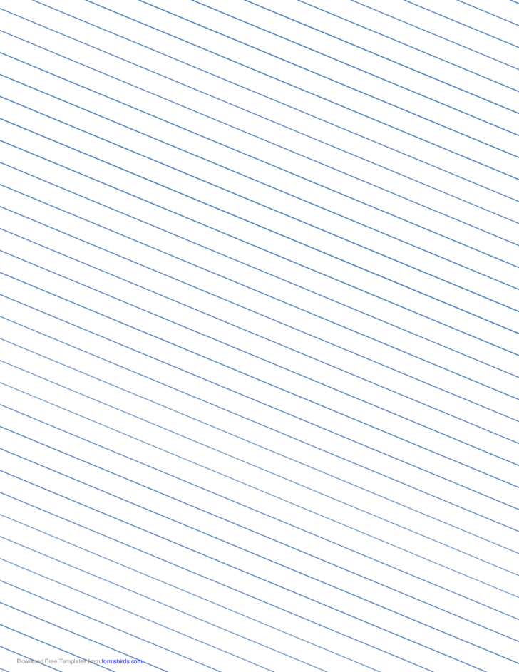 Slant Ruled Paper with Wide Ruled Left-Handed, Low Angle - Blue Lines