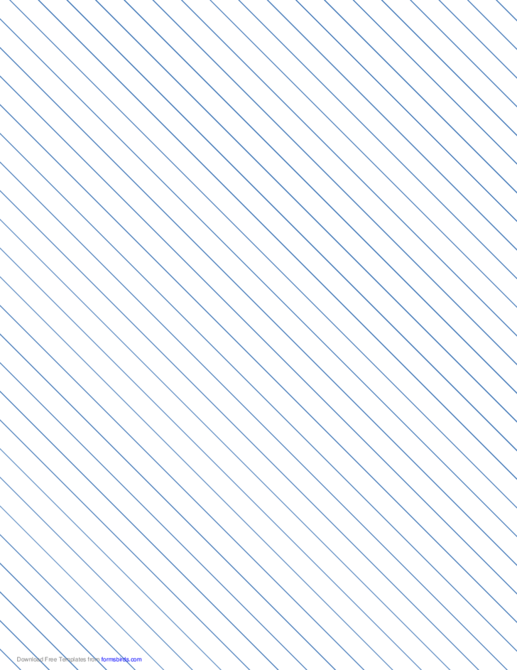 Slant Ruled Paper with Wide Ruled Left-Handed, High Angle - Blue Lines