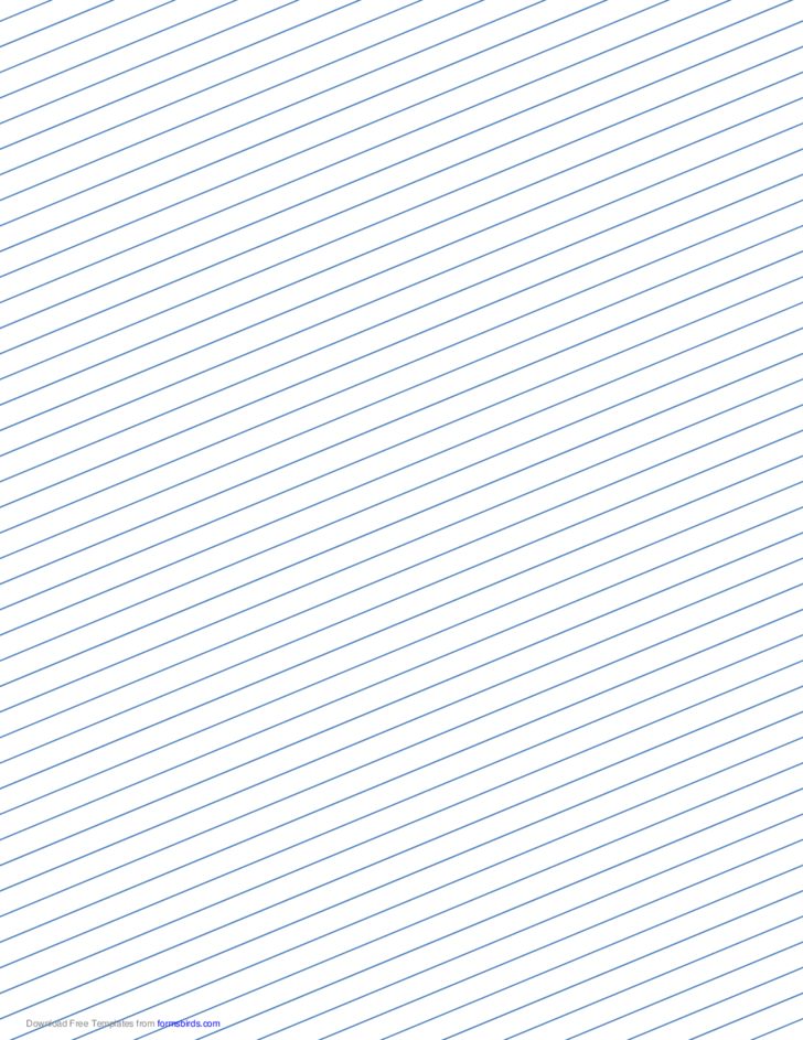 Slant Ruled Paper with Narrow Ruled Right-Handed, Low Angle - Blue Lines