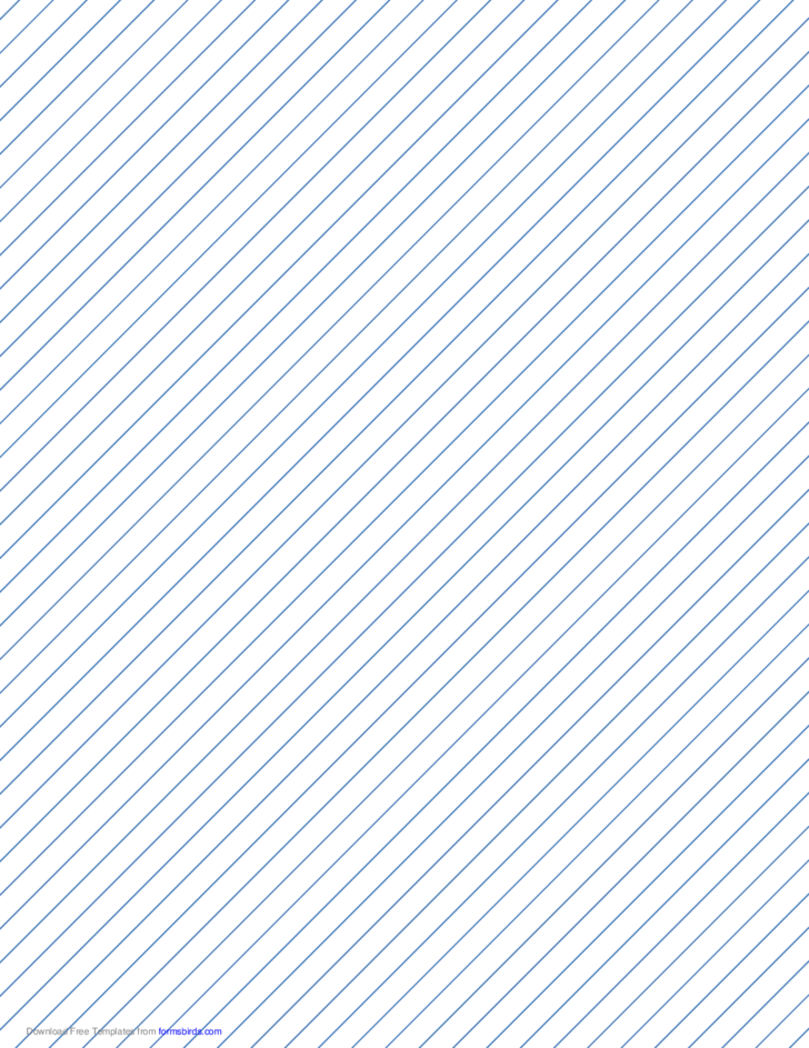 Slant Ruled Paper with Narrow Ruled Right-Handed, High Angle - Blue Lines