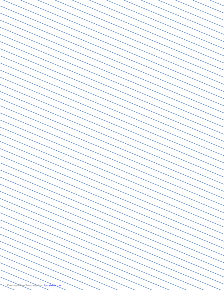 Slant Ruled Paper with Narrow Ruled Left-Handed, Low Angle - Blue Lines