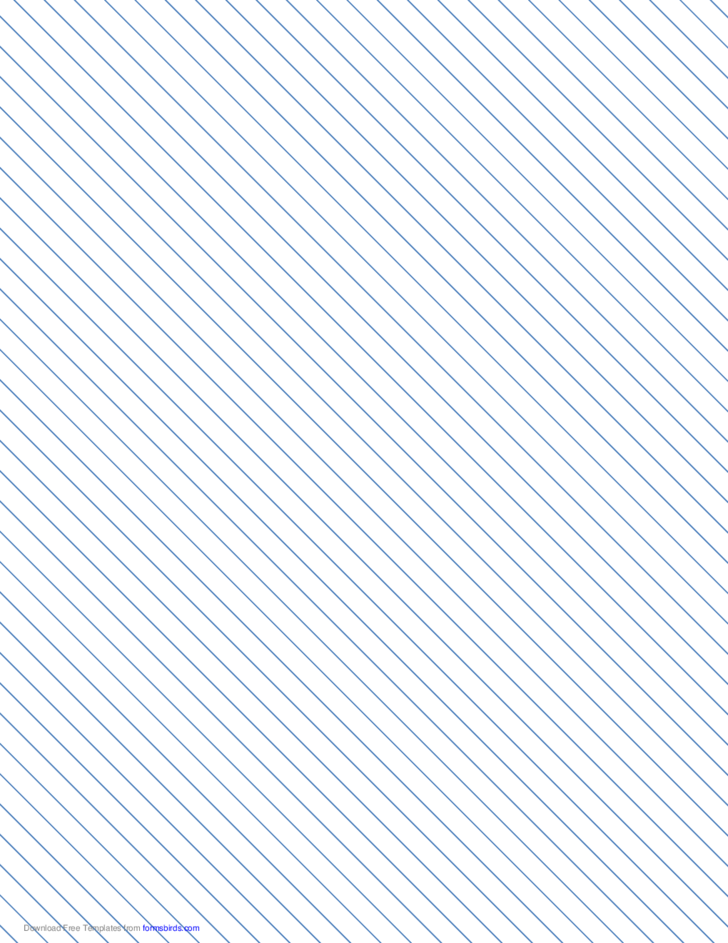 Slant Ruled Paper with Narrow Ruled Left-Handed, High Angle - Blue Lines