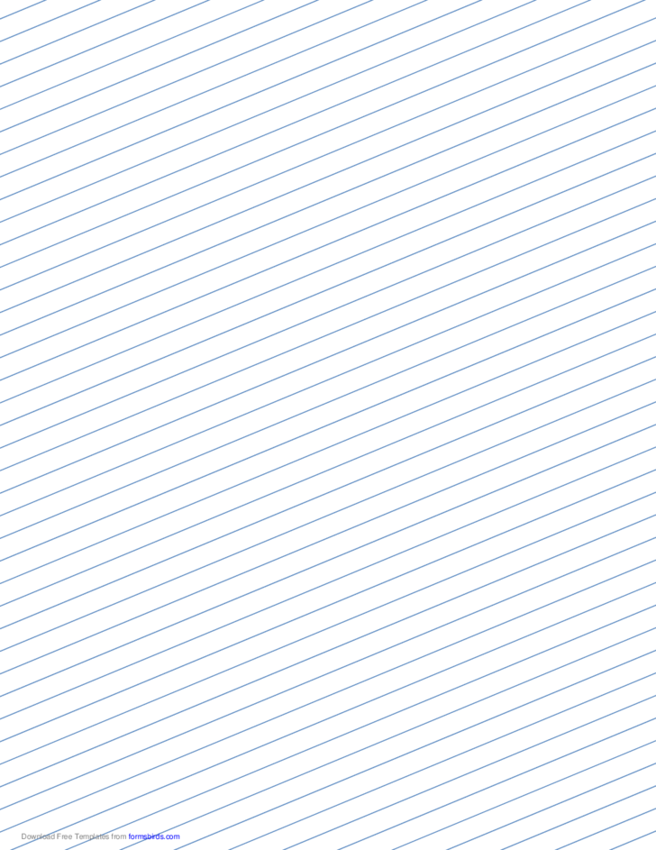 Slant Ruled Paper with Medium Ruled Right-Handed, Low Angle - Blue Lines