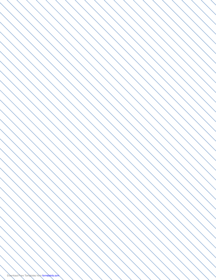 Slant Ruled Paper with Medium Ruled Left-Handed, High Angle - Blue Lines