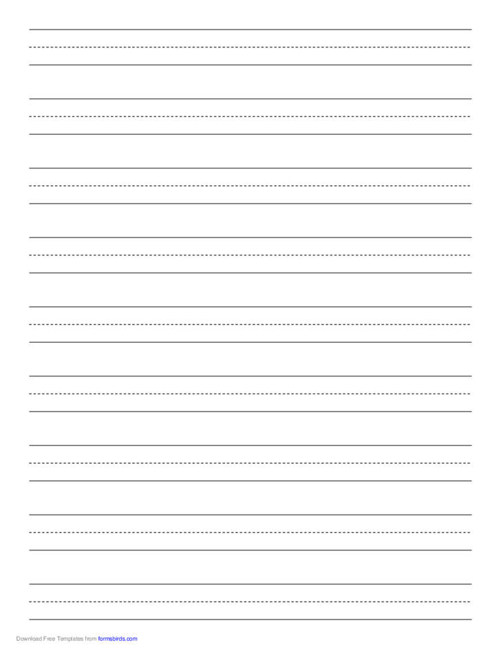 Penmanship Paper with Nine Lines per Page on Letter-Sized Paper