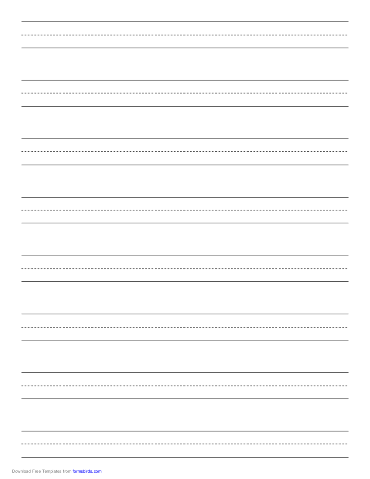 Penmanship Paper with Eight Lines on Letter-Sized Paper in Portrait Orientation