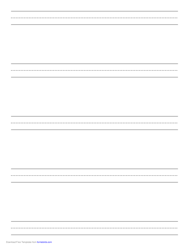 Penmanship Paper with Five Lines per Page on Letter-Sized Paper