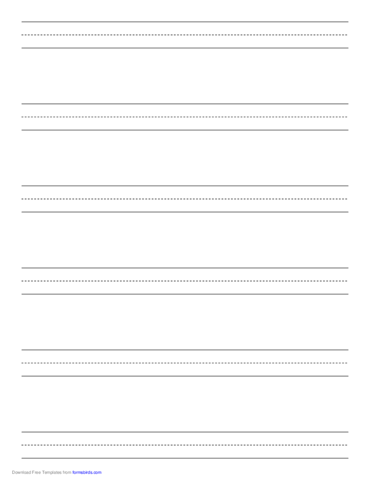 Penmanship Paper with Six Lines per Page on Letter-Sized Paper
