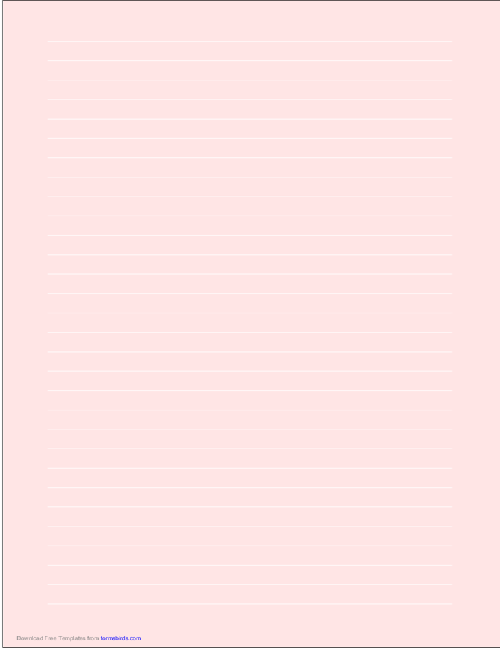 A4 Size Lined Paper with Wide White Lines - Light Red