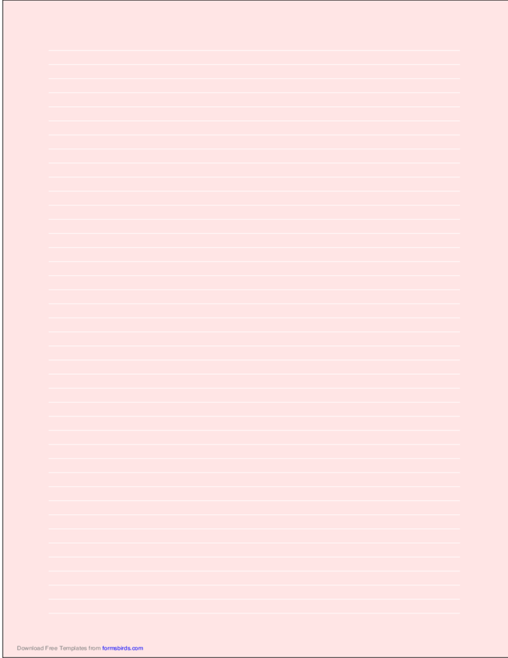 A4 Size Lined Paper with Narrow White Lines - Light Red