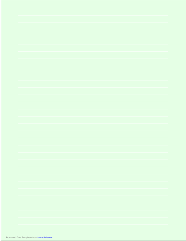 A4 Size Lined Paper with Wide White Lines - Light Green